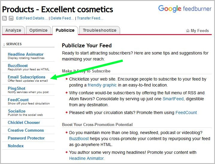 Email subscription setting up in Google feedburner.