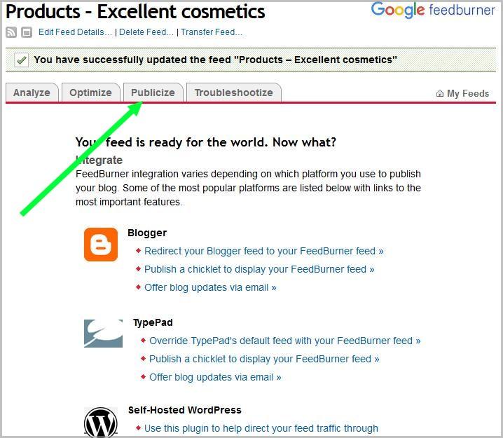 Publicize menu in Google Feedburner.